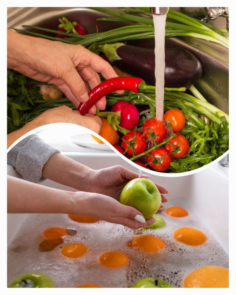 Cleaning fruits and veggies in a sink to get rid of pesticides